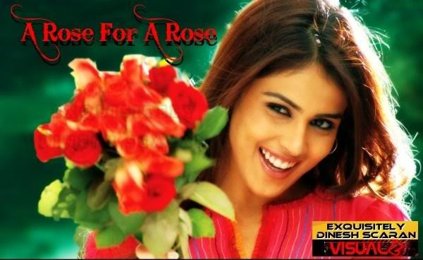Tamil beautiful actress with red flower